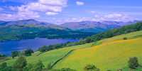 Windermere, Wetherlam & The Langdales from Low Skelghyll, Cumbria, England.