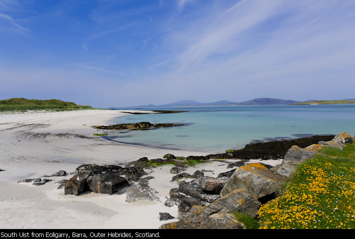 South Uist from Eoligarry, Barra, Outer Hebrides, Scotland.
