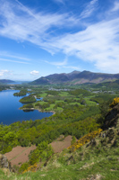 Derwent Water, Keswick & Skiddaw from Falcon Crags, Cumbria, England.