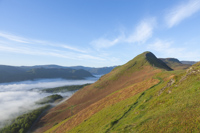 Early morning mist inversion over Derwent Water from Cat Bells, Cumbria, England.
