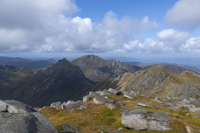 Cir Mhor, The Saddle & North Goatfell from Goatfell, Arran, Ayrshire, Scotland.