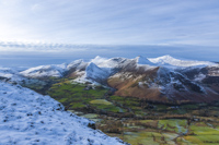 Newlands Valley, Causey Pike & Grisedale Pike from Cat Bells, Cumbria, England.