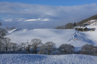 Coniston Old Man & Wetherlam from Skelghyll, Troutbeck, Windermere, Cumbria, England.