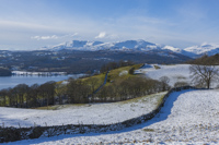 Windermere, Coniston Old Man & Wetherlam, Skelghyll, Troutbeck, Cumbria, England.