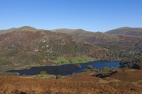 Rydal Water and Fairfield Horseshoe from Loughrigg Fell, Cumbria, England.
