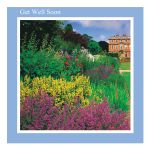 Get Well Soon greeting card - Herbaceous Border - message inside reads: wishing you a speedy recovery