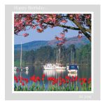 Birthday Card - 'Boats, Tulips and Blossom' - message inside reads: find time to relax it's your birthday!