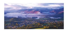 Cumbria greeting card - Keswick and the North Western Fells - left blank for your own message.
